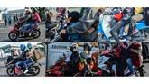 Sudah jadi pemandangan jamak saat mudik lebaran, pemandangan sepeda motor mengangkut banyak barang dan penumpang melintas di sejumlah jalur mudik. (ANTARA FOTO/Syaiful Arif/hp)