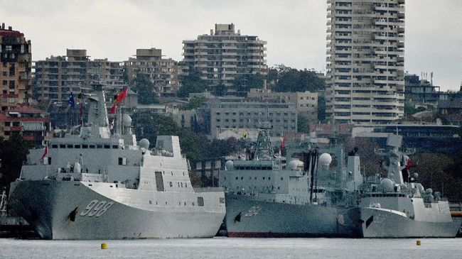 Tiga Kapal Perang China Bikin Pelabuhan Sydney Heboh
