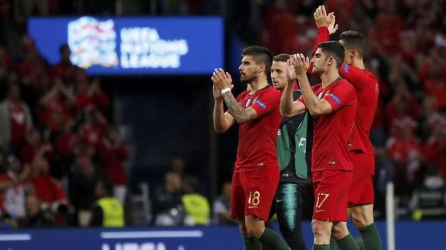 Timnas Portugal akan menghadapi pemenang antara timnas Inggris vs timnas Belanda di final UEFA Nations League 2019, Minggu (9/6). (REUTERS/Susana Vera)