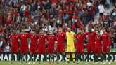 Para pemain timnas Portugal jelang melawan Swiss pada semifinal UEFA Nations League 2019 di Stadion Dragao, Porto, Rabu (5/6) malam waktu setempat.(REUTERS/Rafael Marchante)