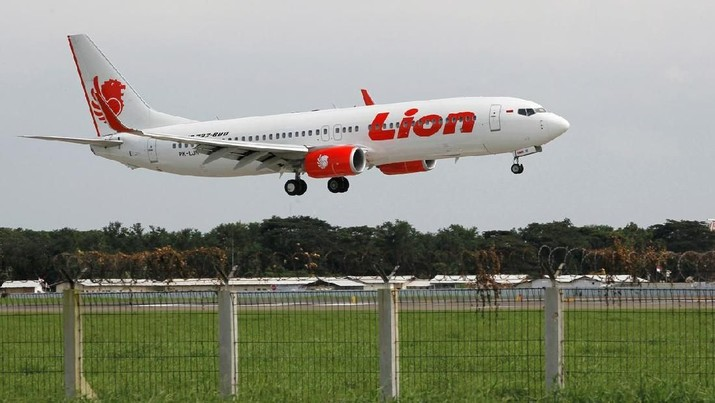 FILE PHOTO: A Lion Air Boeing 737-800 plane prepares to land at the Sukarno-Hatta airport in Tangerang on the outskirts of Jakarta January 30, 2013. REUTERS/Enny Nuraheni