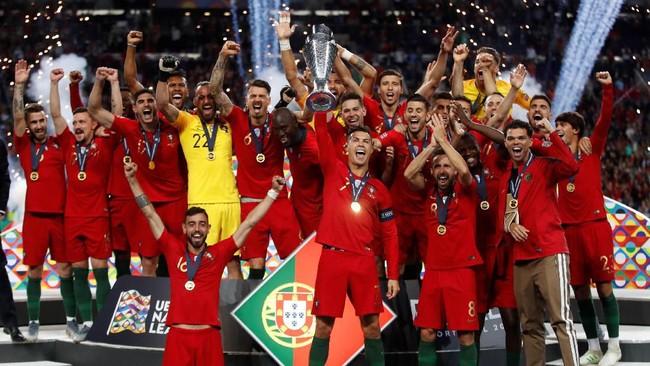 Timnas Portugal berhasil jadi juara UEFA Nations League. Mereka kini kembali jadi salah satu tim favorit untuk perburuan Piala Eropa 2020 saat mereka berstatus juara bertahan. (Reuters/Carl Recine)