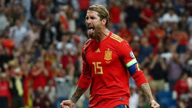 Kebuntuan di laga ini akhirnya pecah di menit ke-64. Sergio Ramos mencetak gol lewat titik putih. (REUTERS/Sergio Perez)