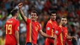 Dua menit berselang, timnas Spanyol memperbesar keunggulan menjadi 3-0 lewat Mikel Oyarzabal. (REUTERS/Sergio Perez)