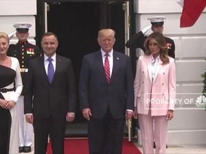 Donald Trump Sambut Kedatangan Presiden Polandia