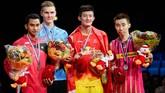 Lee Chong Wei kembali harus puas jadi runner up pada Kejuaraan Dunia 2014 tetapi gelar itu pun dicabut karena tersangkut doping. (JONATHAN NACKSTRAND / AFP)