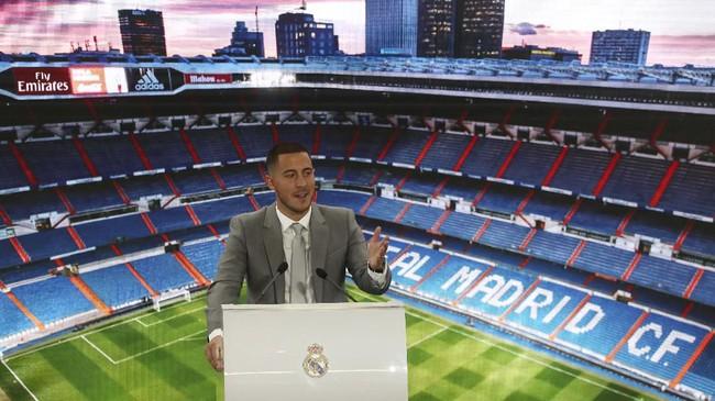 Pernyataan pers pertama Eden Hazard setelah berseragam Real Madrid. Hazard didatangkan Madrid dengan nilai transfer £130 juta atau setara Rp2,3 triliun. (REUTERS/Sergio Perez)