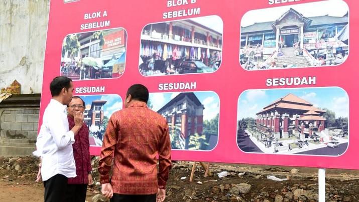 Presiden Joko Widodo (Jokowi) mengawali kunjungan kerja ke Bali dengan meninjau Pasar Sukawati di Kabupaten Gianyar, Jumat (14/6/2019).