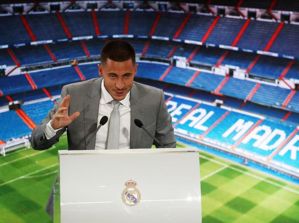 Pemain 28 tahun itu ditransfer dari Chelsea seharga 100 juta euro, menjadikannya galactico terbaru Madrid. (Foto: Sergio Perez/REUTERS)