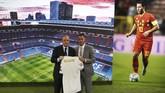 Presiden Real Madrid Florentino Perez memperkenalkan Eden Hazard. Perez disebut-sebut paling menginginkan Hazard ke Los Blancos. (REUTERS/Sergio Perez)