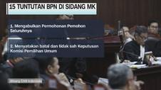 VIDEO: 15 Tuntutan BPN di Sidang Sengketa Pemilu