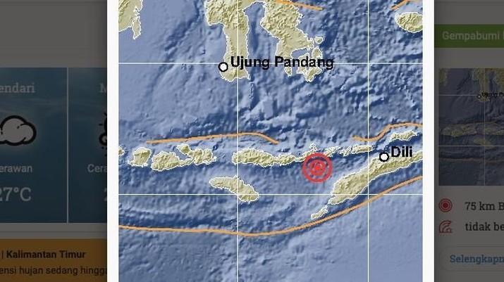 Badan Meteorologi, Klimatologi, dan Geofisika (BMKG) melaporkan terjadi gempa dengan kekuatan Magnitudo 5,6 di kedalaman 117 Km