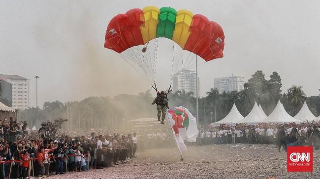Peserta kegiatan akan melakukan deklarasi damai terkait disiplin lalu lintas serta kesatuan Indonesia. (CNN Indonesia/Andry Novelino)