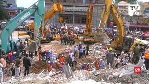 VIDEO: Bangunan 7 Lantai di Kamboja Runtuh, 18 Orang Tewas