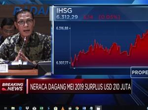 Neraca Perdagangan Mei 2019 Surplus USD 210 Juta