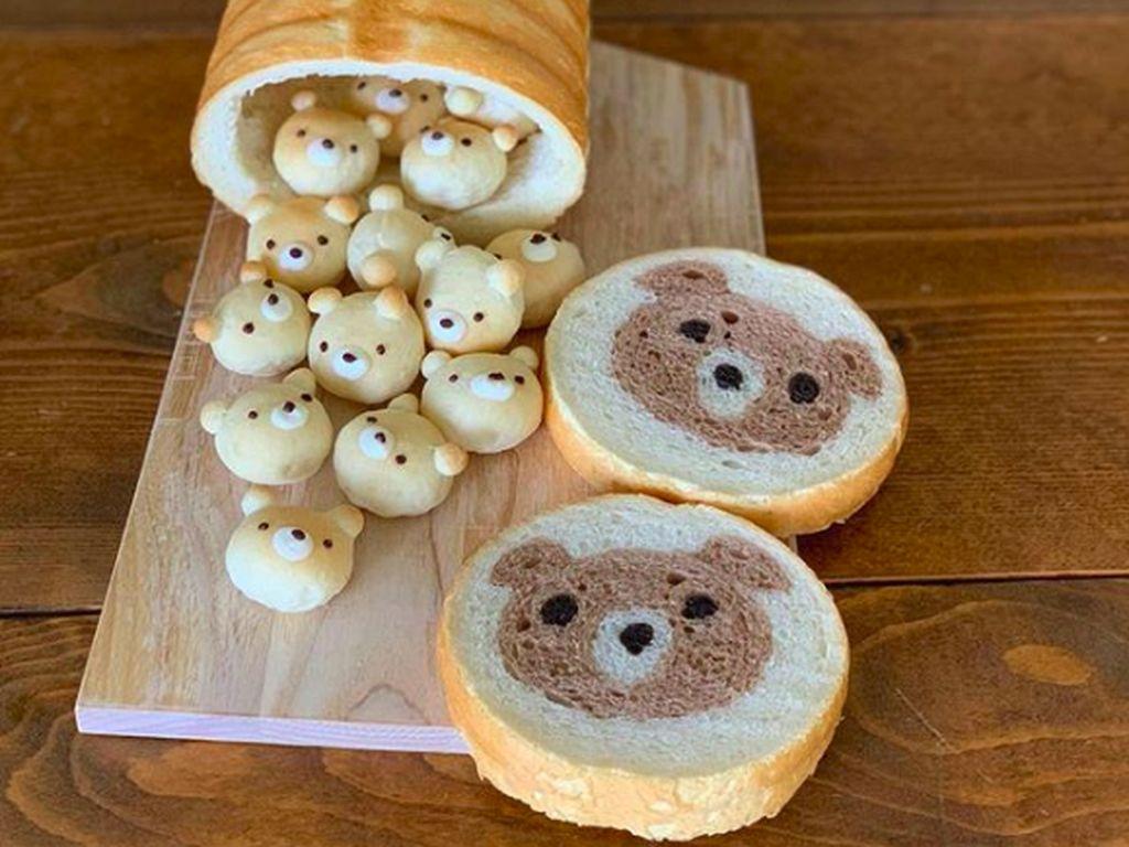 Kreatif banget, ketika roti dibikin dengan bentuk wajah beruang. (Foto: Brightside)
