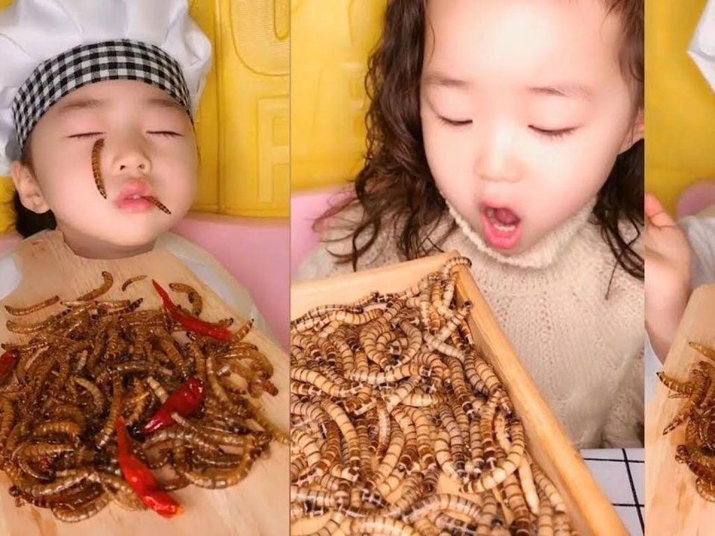 Lucunya Aksi Anak-anak yang Ikutan Tren Mukbang, Ada yang Makan Ulat!
