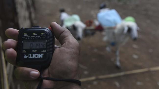 Juri mengukur waktu tempuh ketika kambing saat digelar karapan kambing di Probolinggo, Jawa Timur. (ANTARA FOTO/Zabur Karuru)