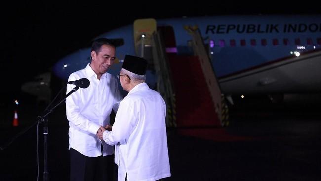 Setelah memberikan pernyataan publik menanggapi putusan MK, Jokowi langsung terbang ke Jepang untuk menghadiri KTT G20, 27 Juni2019. (ANTARA FOTO/Wahyu Putro A)