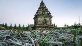 Sebelumnya, embun beku muncul di kompleks Candi Arjuna di dataran tinggi Dieng, Banjarnegara, Jawa Tengah, Selasa (25/6/2019). Embun beku ini muncul akibat penurunan suhu ekstrem hingga minus tujuh derajat Celcius. (ANTARA FOTO/Idhad Zakaria/foc)