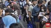 Dilihat dari tingkat pendidikannya, tingkat pengangguran terbuka untuk Sekolah Menengah Kejuruan (SMK) masih tertinggi diantara tingkat pendidikan lain.(CNN Indonesia/Adhi Wicaksono)