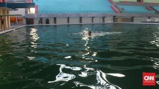 Jakabaring Terbengkalai, Atlet Latihan di Kolam Berlumut