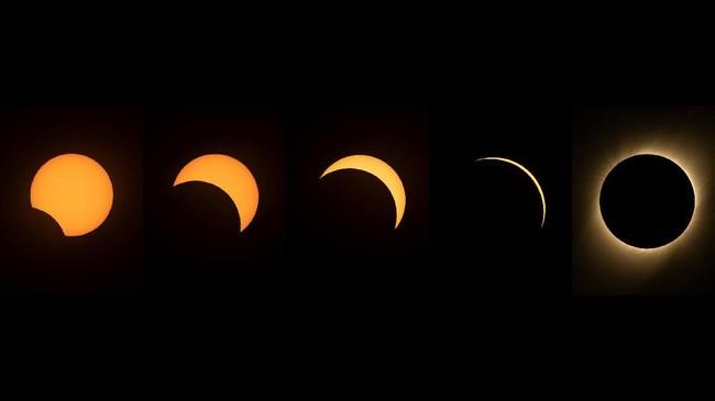 Gerhana matahari total terjadi pada sore hari 2 Juli pukul 16:38 waktu setempat (3 Juli, 04:38 WIB), namun gerhana ini hanya bisa disaksikan oleh warga Chile dan Argentina (MARTIN BERNETTI / AFP)