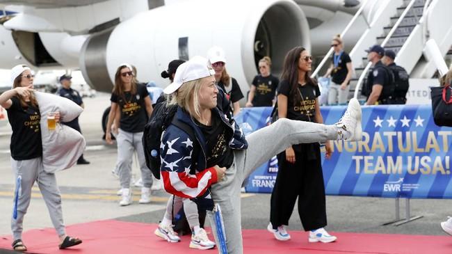Timnas Amerika Serikat merupakan tim tersukses dalam sejarah Piala Dunia Wanita dengan torehan empat kemenangan.(AP Photo/Kathy Willens)