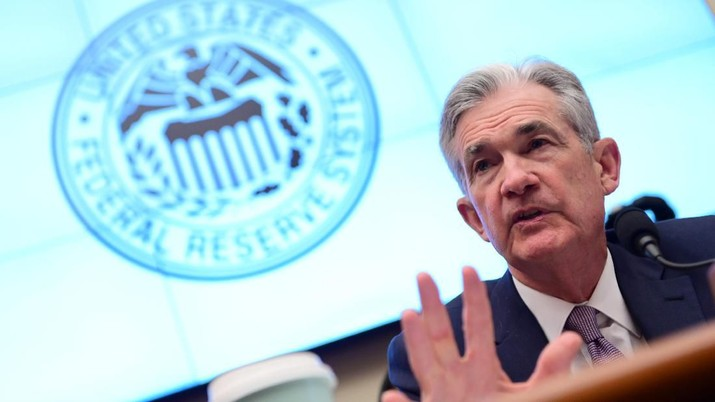 Federal Reserve Chairman Jerome Powell testifies during a House Financial Services Committee hearing on