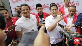 Sandi dan Erick Thohir Komentari Pertemuan Jokowi-Prabowo