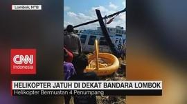 VIDEO: Helikopter Jatuh di Dekat Bandara Lombok