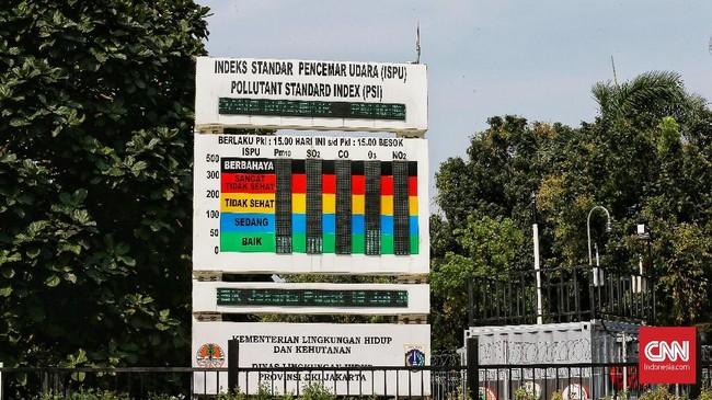 Rata-rata harian kualitas udara di Jakarta dengan indikator PM 2.5 pada 2018 adalah 45,3 mikrogram per meter kubik udara. (CNN Indonesia/Andry Novelino)