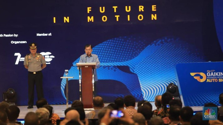 Wakil Presiden Jusuf Kalla (JK) membuka pameran otomotif GAIKINDO Indonesia International Auto Show (GIIAS) 2019.