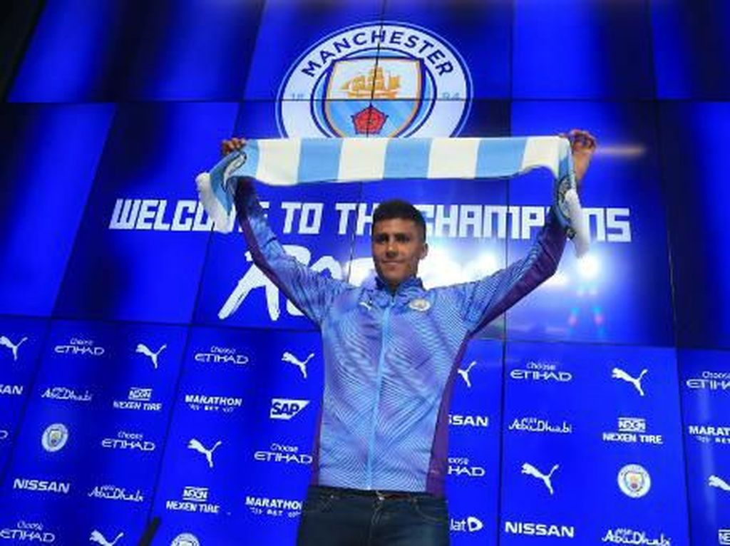 Rodri masih menjadi satu-satunya pembelian Manchester City di musim panas ini. Dia ditebus dengan harga 70 juta euro dari Atletico Madrid. (Lindsey Parnaby/AFP)