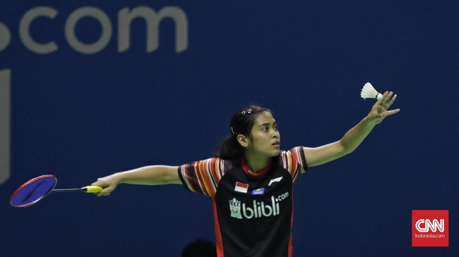 Langkah tunggalputri Indonesia Gregoria Mariska Tunjung di Indonesia Open 2019 terhenti di babak kedua usai kalah dari unggulan ketujuh asal Thailand, Ratchanok Intanon, 21-13, 19-21, 15-21. (CNN Indonesia/Adhi Wicaksono)