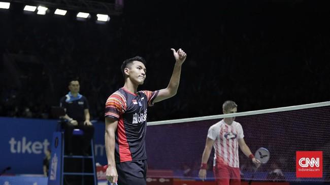 Ke perempat final Indonesia Open 2019 membuat Jonatan Christie menyamai pencapaian di edisi 2015 dan 2016. Di perempat final Jonatan akan menghadapi tunggal putra Taiwan, Chou Tien-chen. (CNN Indonesia/Adhi Wicaksono)