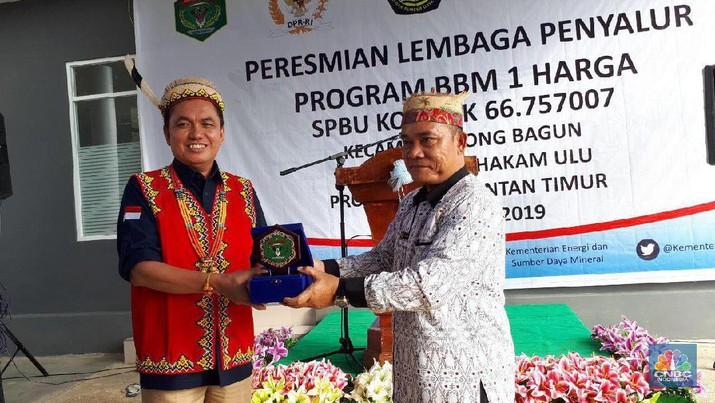 BPH Migas meresmikan Stasiun Pengisian Bahan Bakar Umum (SPBU) Kompak 66.757007 di Desa Ujoh Bilang, Long Bagun, Mahakam Ulu, Kalimantan Timur.