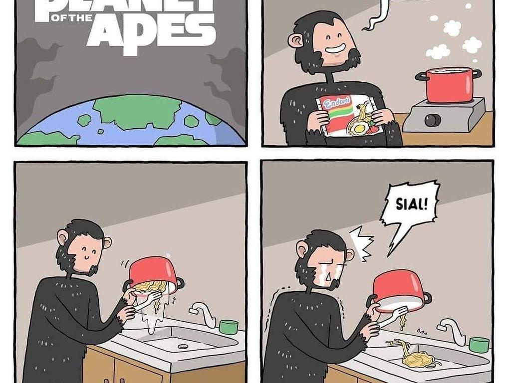 Ini sih bener-bener apes. Kalau masak mie instan baiknya diambil dengan garpu aja, ya. Foto: Instagram komik.grontol