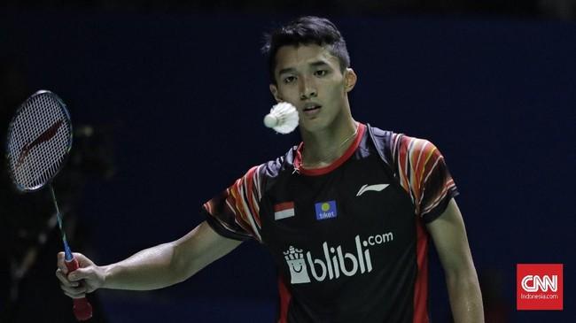 Kekalahan Jonatan Christie membuat tunggal putra Indonesia tak tersisa di Indonesia Open 2019 setelah sehari sebelumnya Anthony Ginting dan Tommy Sugiarto lebih dulu menyerah. (CNN Indonesia/Adhi Wicaksono)