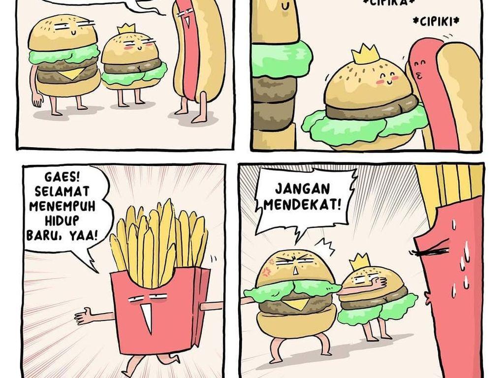 Waduh, sama hotdog aja camburu. Tapi burger memang paling pas dijodohkan dengan french fries, sih. Hihi Foto: Instagram komik.grontol