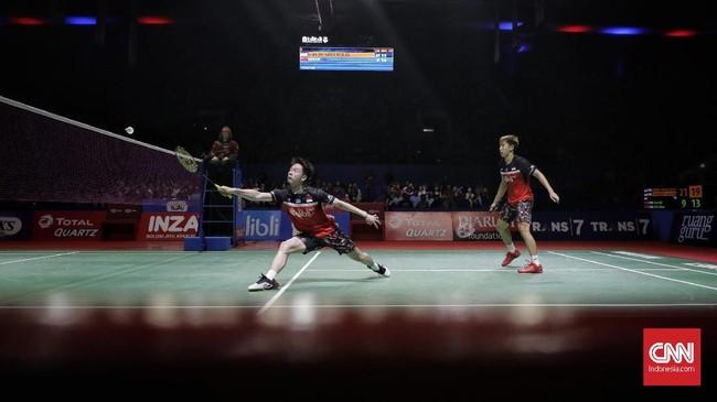 Setelah Ahsan/Hendra melaju ke final, Kevin/Marcus mendapat giliran bertanding melawan Li Junhui/Liu Yuchen. (CNN Indonesia/Adhi Wicaksono)