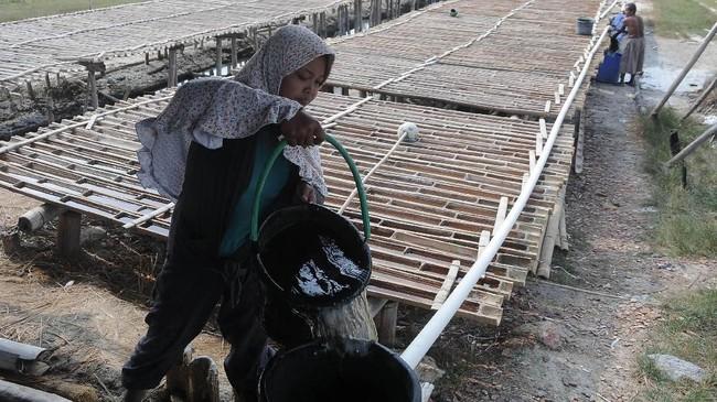 Sumur ini memiliki sumber air asin yang diklaim tidak pernah kering, bahkan saat musim kemarau. (ANTARA FOTO/Yusuf Nugroho)