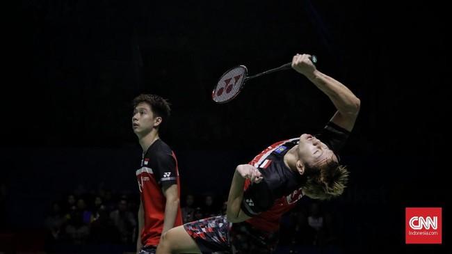 Performa apik dan permainan cepat yang diperagakan The Minions membuat mereka menang 21-19 atas Mohammad Ahsan/Hendra Setiawan di gim pertama. (CNN Indonesia/Adhi Wicaksono)
