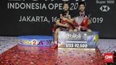 Gelar juara Indonesia Open 2019 adalah yang ketiga bagi Kevin Sanjaya Sukamuljo/Marcus Fernaldi Gideon di tahun 2019 setelah Malaysia Masters dan Indonesia Masters. (CNN Indonesia/Adhi Wicaksono)