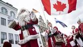 Sekitar 150 orang Santa Klaus dari seluruh dunia berkumpul di Kopenhagen. (Ritzau Scanpix/Liselotte Sabroe via Reuters)