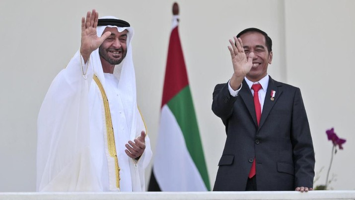 Abu Dhabi's Crown Prince Sheikh Mohammed bin Zayed Al Nahyan, left, and Indonesian President Joko Widodo wave at photographers during their meeting at the presidential palace in Bogor, Indonesia, Wednesday, July 24, 2019. (AP Photo/Dita Alangkara, Pool)