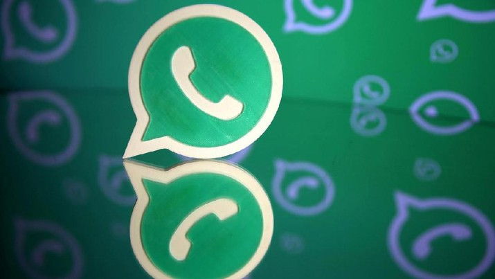 FILE PHOTO: A 3D printed Whatsapp logo is seen in front of a displayed Whatsapp logo in this illustration September 14, 2017. REUTERS/Dado Ruvic/File Photo