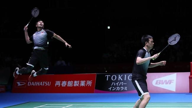 Ganda putra Indonesia, Mohammad Ahsan/Hendra Setiawan juga lolos ke final Japan Open usai menyingkirkan ganda Jepang, Takeshi Kamura/Keigo Sonoda lewat permainan dua gim 22-20, 21-10. (Dok. PBSI)