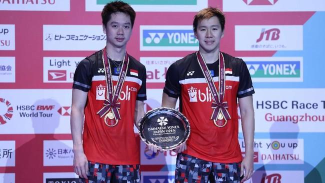 Pasangan nomor satu dunia mempertahankan gelar Japan Open untuk kali kedua. Sebelumnya Kevin/Marcus juara pada 2017 dan 2018. (dok.PBSI)