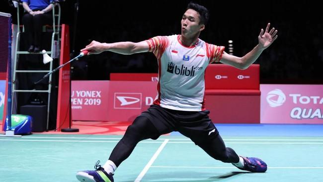 Jonatan Christie menjadi wakil pertama Indonesia yang tampil di final Japan Open 2019 melawan jagoan tuan rumah Kento Momota. (dok.PBSI)